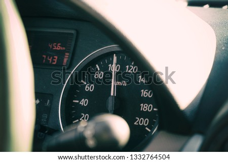 Photo speedometer in the car on the dashboard. Car dashboard. #1332764504