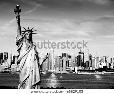 photo statue of liberty nyc skyline cityscape in black and white afternoon vibrant capture of new york midtown over hudson