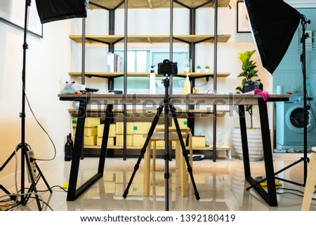 Photo Studio concept. There are equipment used to work. The softbox is a necessary device. As a light source, Beautiful place suitable for work. The camera is located and the props.