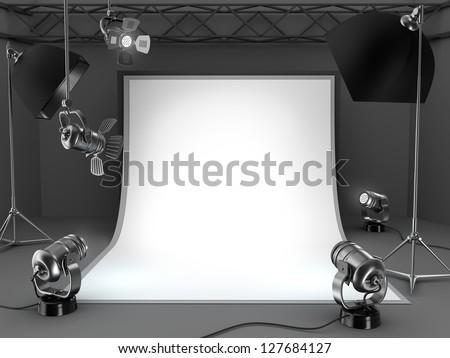 Photo studio equipment background.
