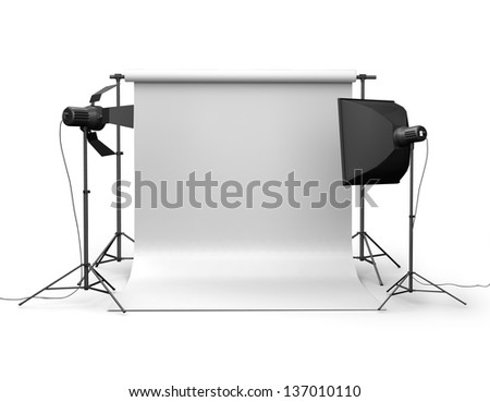 Photo studio equipment Space for text 3d
