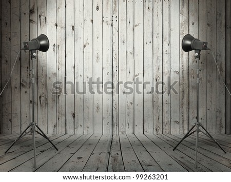 photo studio in old wooden room