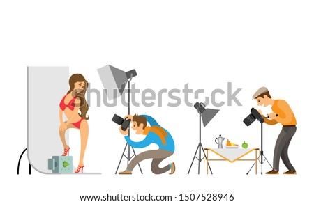 Photo studio photographer and model in swimsuit. Professional light focusing spotlight, photographing equipment. Man photographing food on table raster