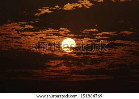 photo. sunset orange sky romantic as background. #151864769