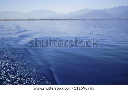 Photo taken from receding ship in Red Sea off the coast of Eilat