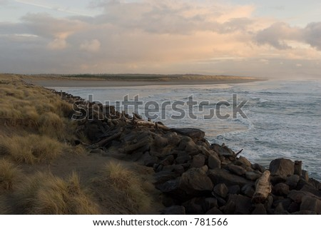 Photo taken from the observation deck at the South Jetty which is at the mouth of the Columbia River in Oregon at Fort Stevens State Park