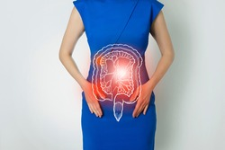 Photo template of unrecognizable woman representing graphic visualisation of intestine organ highlighted red. Detox and digestive system health concept. Photo, linear handrawn illustration.