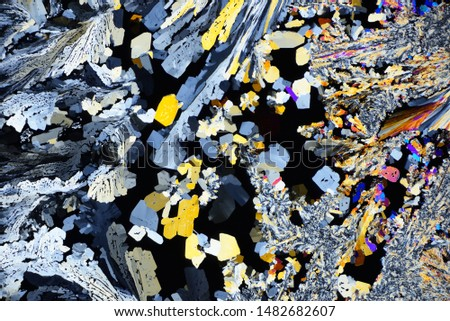Photo through a microscope of crystals grown from a melt of citric acid. Polarized light technology. Abstract art wallpaper. Background for design.