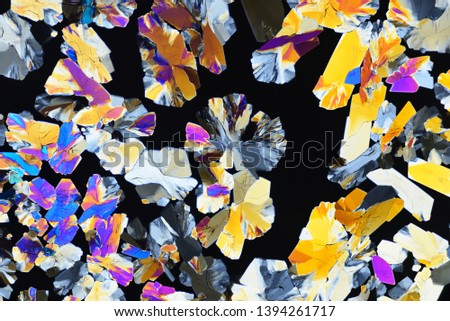 Photo through a microscope of crystals grown from a solution of citric acid in alcohol. Polarized light technology. Abstract art wallpaper. Background for design.