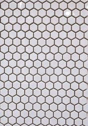 Photo top view of a multicolored mosaic for hexagon-shaped walls with ceramic shine and texture as a textured background