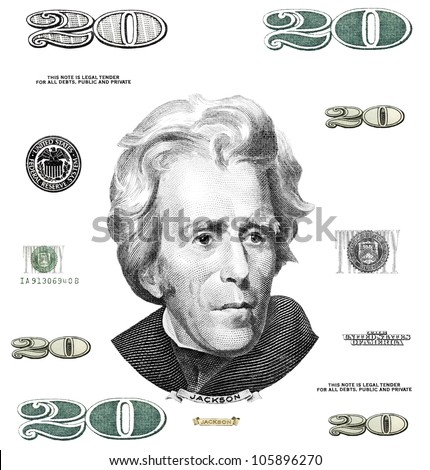 Photo twenty 20 dollar $ bill elements isolated on white background