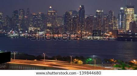 photo vibrant new york cityscape skyline at night time