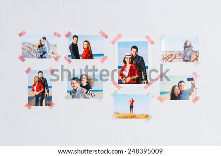 Photo wall. Decoration inside of a house with photo wall