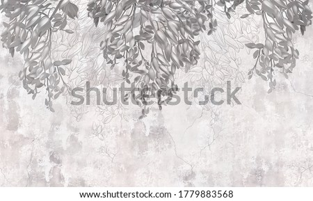 Photo wallpaper, wallpaper, engraving on the wall, in the loft style. Flowers on a gray background. Beautiful patterns on the wall. Photo wallpaper design. Loft design, classic, modern.