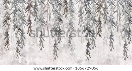 Photo wallpaper, wallpaper, mural design in the loft, classic, modern style. Willow branches on a gray concrete grunge wall.  Stock fotó ©