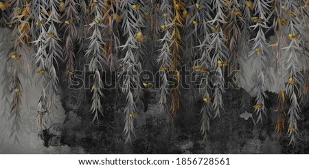 Photo wallpaper, wallpaper, mural design in the loft, classic, modern style. Willow branches with gold butterflies on a dark concrete grunge wall.