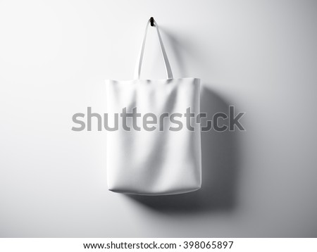 Photo white cotton textile bag hanging center. Empty abstract wall background. Highly detailed texture, space for advertising. Horizontal. 3D rendering