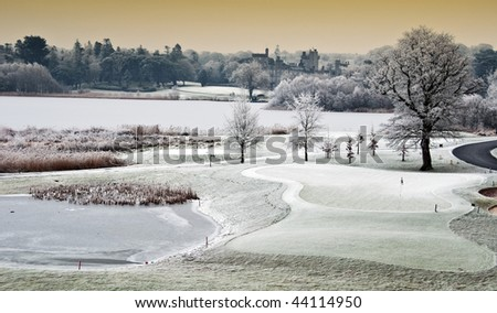 photo winter cold scenic landscape lake with castle in distance, ireland