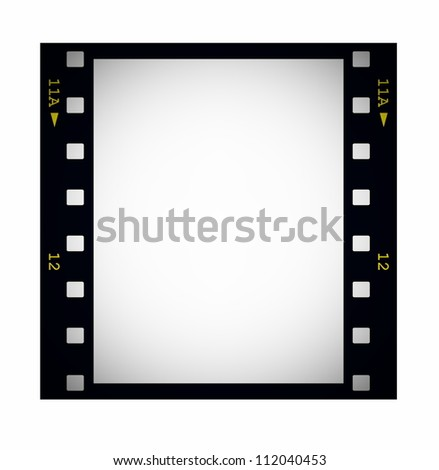 photo with blank film strip frame isolated on white