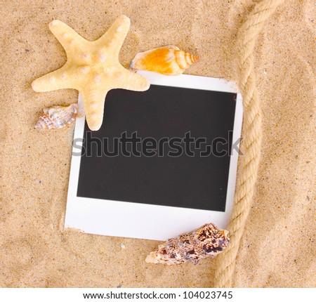 Photo with seashells and starfish on sand