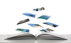 Photobook with Photos of Beach Scenes Floating