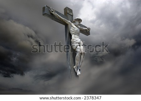 Photocomposition of Jesus Christ dying on the cross.