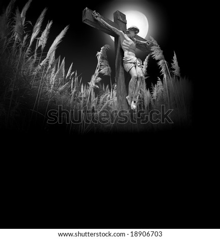 Photocomposition of Jesus Christ dying on the cross.Room for latter text.