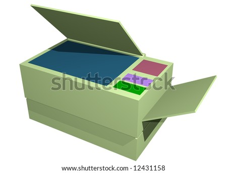 Photocopier Printer Fax Machine Isolated on a white background