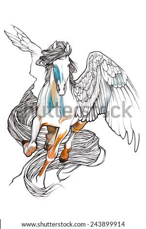 Pegasus Drawing In Pencil