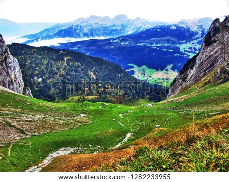 Photogenic pastures and hills of the Alpstein mountain range - Canton of St. Gallen, Switzerland #1282233955