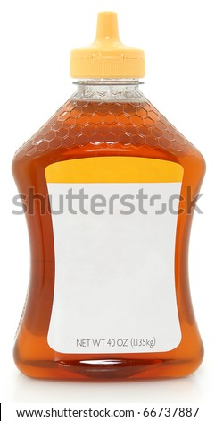 Photograph Blank label 40 oz plastic bottle jar of honey with blank label for text.