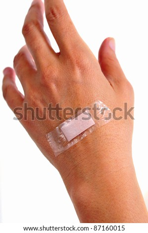 photograph female hand with a bandage on the back