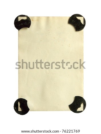 Photograph from the 1940s with old-fashioned photo corners. Blank back. Isolated on white background.
