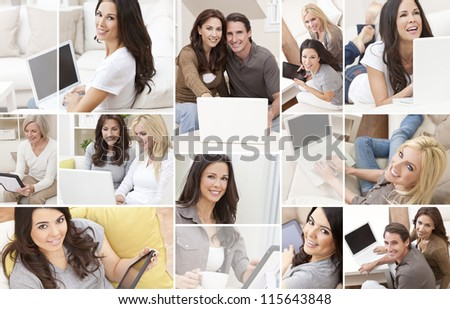 Photograph montage of people men and women at home sitting on sofas or settees using laptop computers or tablet computers smiling happy relaxed.