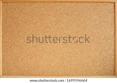 Photograph of a cork panel in a wooden frame ideal for backgrounds and textures. Panel for notes and photos of all kinds. Stockfoto ©