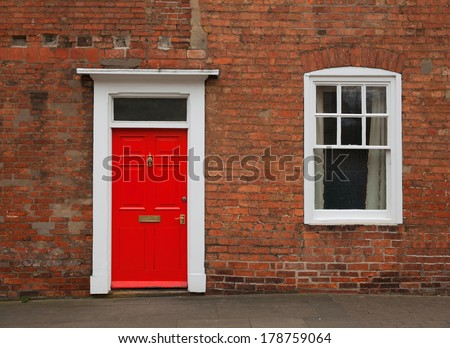 photograph of a red door...