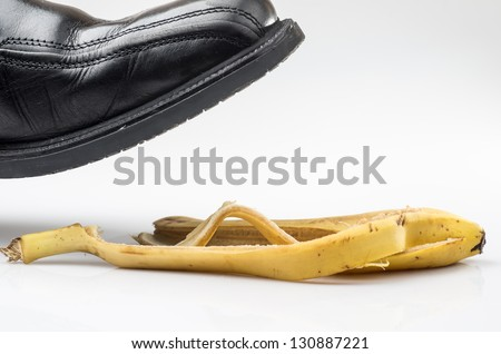Photograph of a shoe before slipping on a banana peel on for How to keep shoes from slipping on floor
