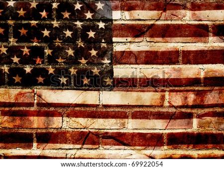 photograph of a worn American flag layered with textures of a brick wall and broken slate - concept of cracked america