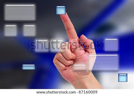 photograph of an interactive display with a button aprentado hand