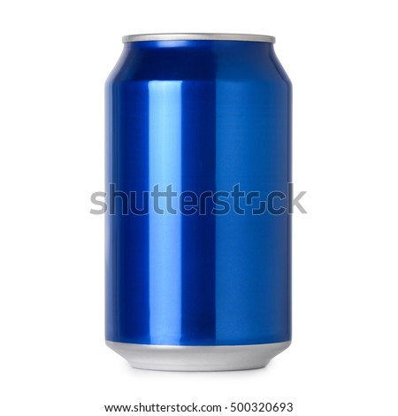 Photograph of blank blue aluminum soda or alcohol drink can for mockup isolated on white background with shadow