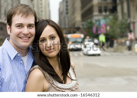 Photograph of couple with blurred background