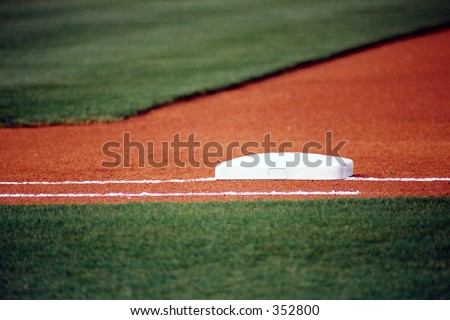 Photograph of first base before a baseball game.