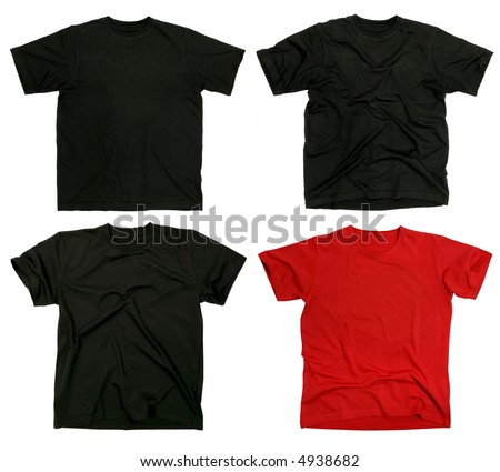 Photograph of four blank t-shirts, new and old, wrinkled and flat.  Ready for your design.