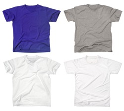 Photograph of four blank t-shirts, new and old, wrinkled and flat.  Ready for your design or logo.