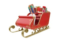 photograph of Golden sleigh filled with present boxes isolated with clipping path on white background