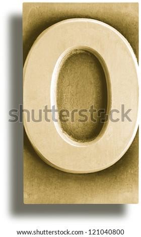 Photograph of Metal Letterpress Sepia Number Zero