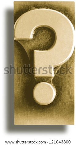 Photograph of Metal Letterpress Sepia Question Mark