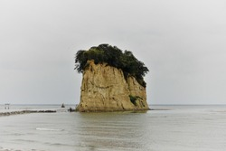 Photograph of Mitsukejima (Mitsuke Island, Gunkanjima (Battleship Island)) in Noto Peninsula Quasi-National Park, Ishikawa Prefecture, Japan.