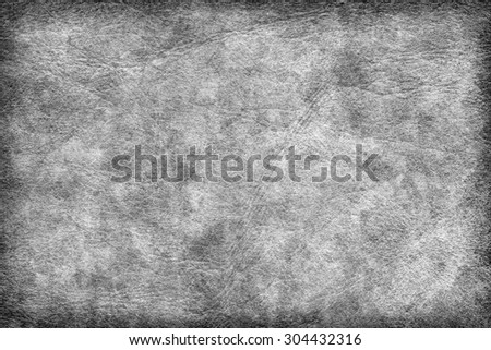 Photograph of old Gray animal skin parchment, creased, coarse, vignette grunge texture sample.