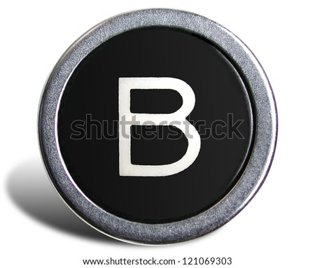 Photograph of Old Typewriter Key Letter B